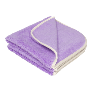 A purple microfiber towel is displayed with a blank background