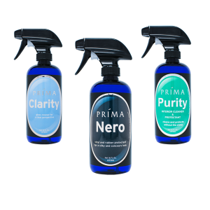 Three bottles of Prima Car Care products are displayed with a blank background