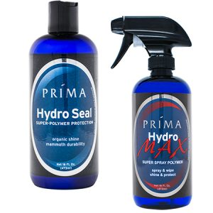 Two bottles of Prima Car Care products are displayed with a blank background