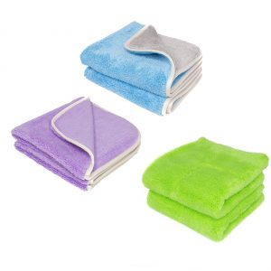 Three Prima microfiber towels